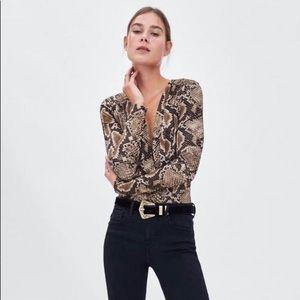 NWT ZARA Snakeskin Wrap Bodysuit Top Med